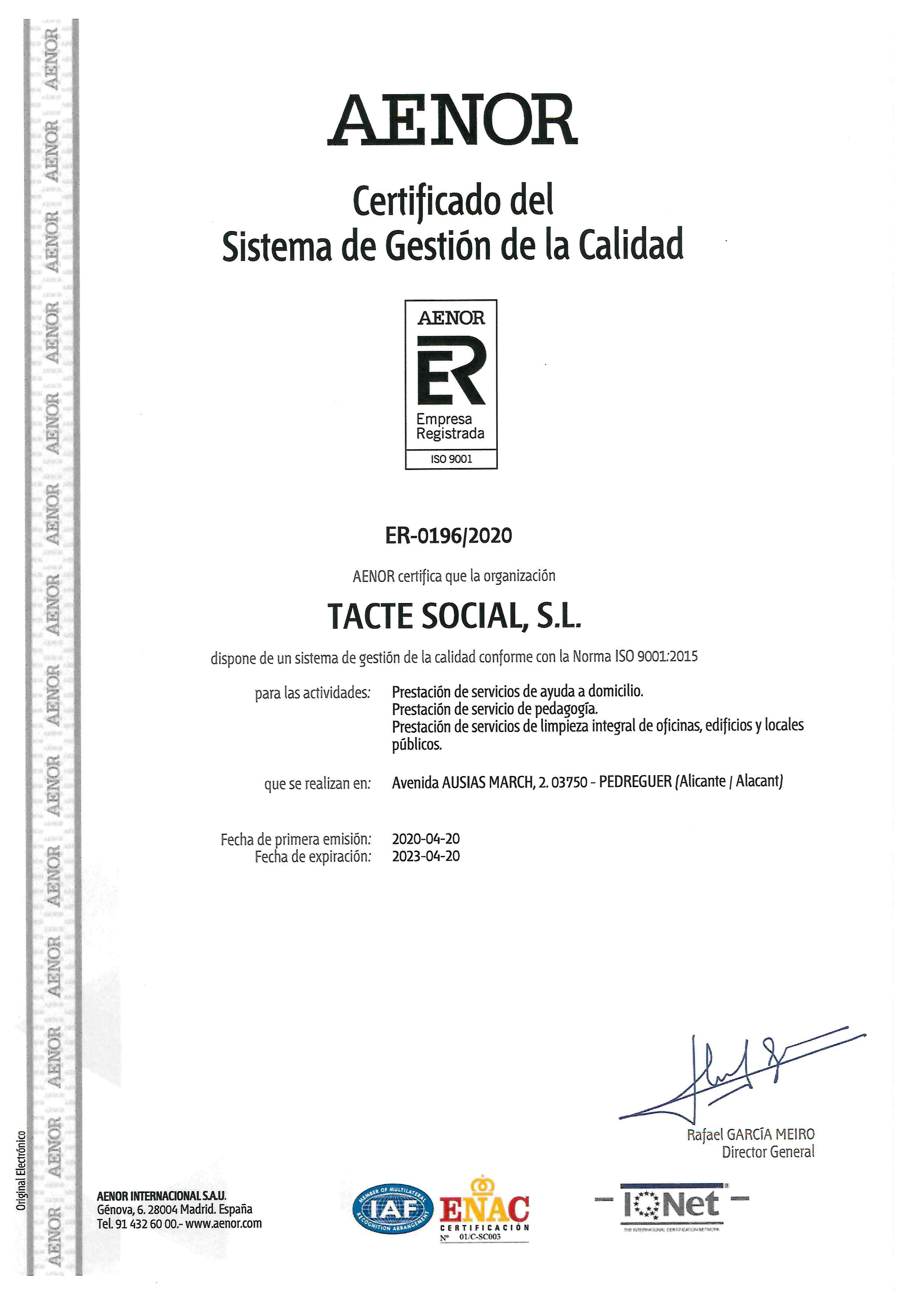 certificado aenor tacte social